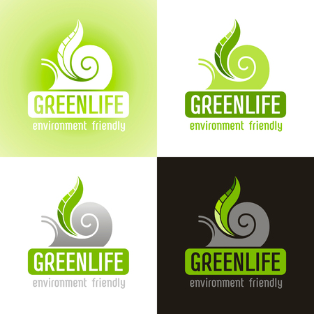 siluette: Ecological symbol logo icon set with snail shell and green plant leaf. Ecology nature concept. For gardening, environment, tourism topics. Flat siluette vector icon on white, green, black background
