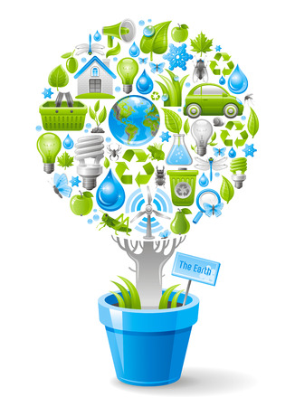 environment protection: Ecological design with ecology nature symbols icon set in tree. White background. Environment protection concept includes recycling symbol, Earth globe, garbage can, electric car, light bulb, turbine Illustration