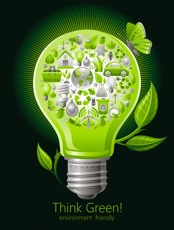 environment protection: Ecological set with green icons on black background for environment protection concept with green lightbulb, sprout and butterfly. Recycling icon, Earth globe, garbage can, electric car, organic food Illustration
