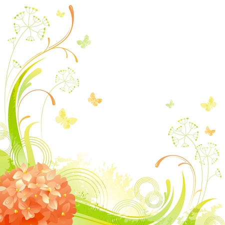 grass close up: Floral summer background with orange hydrangea flower, leafs, grass and grunge elements, copy space for your text