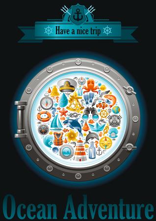Sea Segelreise-Plakatentwurf auf schwarzem Hintergrund mit Segel Symbol in Bullauge gesetzt. Yachting wappen, Kompassrose, Ferngläser, Killerwal, öffnung, Nachricht in der Flasche, Yacht, Segelschiff