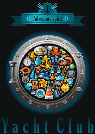 porthole: Sea sailing travel poster design on black background with sailing icon set in porthole. Yachting coat of arms, compass rose, binoculars, killer whale, porthole, message in bottle, yacht, sailing ship Illustration