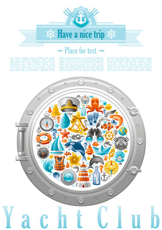 killer waves: Sea sailing travel poster design on white background with sailing icon set in porthole. Yachting coat of arms, compass rose, binoculars, killer whale, porthole, message in bottle, yacht, sailing ship Illustration