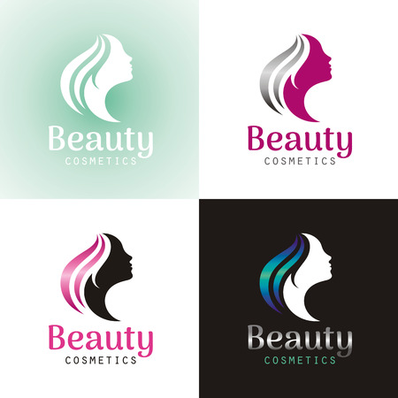 young adult: Elegant luxury logo with beautiful face of young adult woman with long hair. Sexy symbol silhouette of head with text lettering Illustration