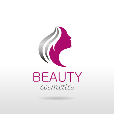 hairdress: Elegant luxury logo with beautiful face of young adult woman with long hair. Sexy symbol silhouette of head with text lettering Illustration