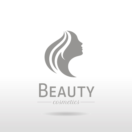 Elegant luxury logo with beautiful face of young adult woman with long hair. Sexy symbol silhouette of head with text lettering Illustration