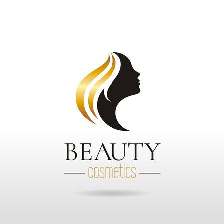 Elegante luxe logo met mooi gezicht van jonge volwassen vrouw met lang haar. Sekssymbool silhouet van het hoofd met de tekst letters