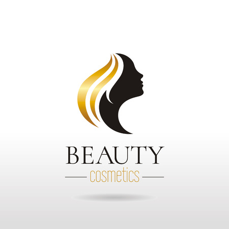 Elegant luxury logo with beautiful face of young adult woman with long hair. Sexy symbol silhouette of head with text lettering Vectores