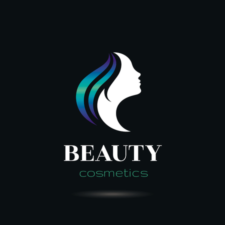 hairdress: Elegant luxury logo with beautiful face of young adult woman with long blue hair. Sexy symbol silhouette of head with text lettering Beauty cosmetics on black background for hair dress, SPA salon