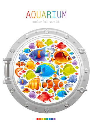 porthole: Sea summer travel poster design with tropical angel, butterfly fishes icon set and porthole emblem. Vector illustration on white background with text lettering Illustration