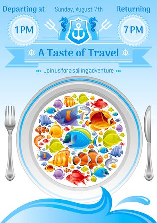 angel fish: Sea summer travel poster design with tropical butterfly and angel fish icon set and sailing adventure signs. Vector illustration on white background with plate dish and text lettering Taste of Travel