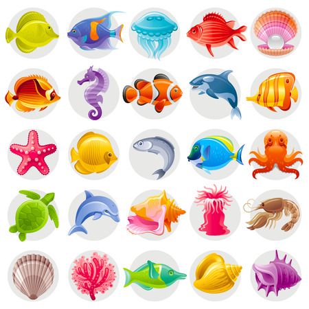 caballo de mar: Cute cartoon icon set with underwater animals. Sea horse, fishes, turtle, pearl scallop, dolphin, whale, octopus, starfish, shell. Vector illustrations for beach tourism, summer travel, diving club