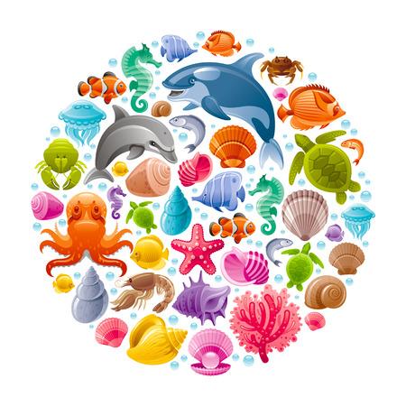 Icône de Voyage de mer définie avec des animaux de plongée sous-marine. Dolphin, épaulard, étoiles de mer, coraux, huîtres perle, poissons papillons, coquillages tropicaux, cheval de mer, poulpes, tortues de mer et des icônes plus marines Banque d'images - 59877191
