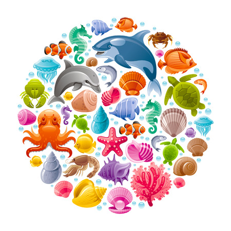 Sea travel icon set with underwater diving animals. Dolphin, killer whale, starfish, coral, oyster pearl, butterfly fish, tropical shells, sea horse, octopus, sea turtle and more marine icons