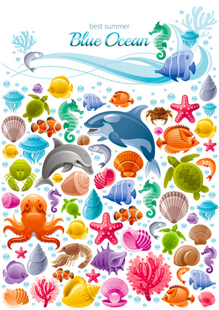 Sea travel icon set with underwater diving animals. Dolphin, killer whale, starfish, coral, oyster pearl, butterfly fish, tropical shells, sea horse, octopus, turtle and more marine icons in porthole Vectores