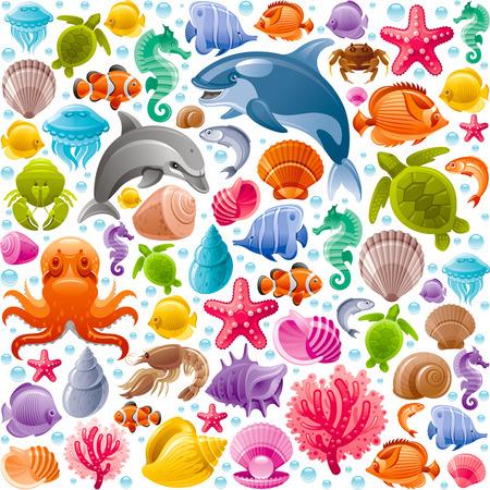 caballo de mar: de fondo sin fisuras del viaje por mar con los animales de buceo bajo el agua. Delf�n, ballena asesina, estrellas de mar, corales, perlas, peces mariposa, los dep�sitos tropicales, caballitos de mar, pulpos, tortugas marinas y los iconos m�s marinos