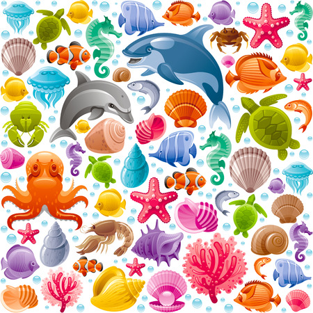 horse fish: Sea travel seamless background with underwater diving animals. Dolphin, killer whale, starfish, coral, pearl, butterfly fish, tropical shells, sea horse, octopus, sea turtle and more marine icons