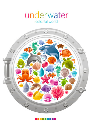 horse fish: Sea travel icon set with underwater diving animals. Dolphin, killer whale, starfish, coral, oyster pearl, butterfly fish, tropical shells, sea horse, octopus, turtle and more marine icons in porthole Illustration