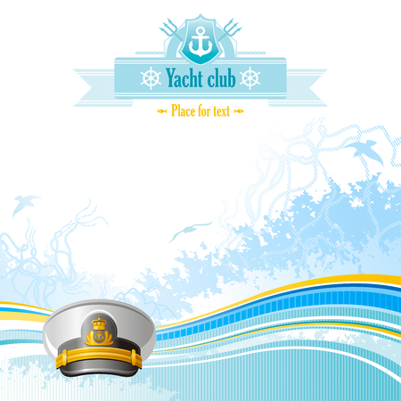 captain hat: Sea travel background design for yacht club with net, foam, and seagulls and captain hat icon. Copy space for your text