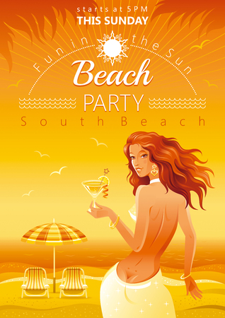 sexy teenage girl: Evening beach background with beautiful elegant girl and tropical cocktail