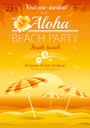 asian business: Aloha beach party background with umbrellas and hibiscus
