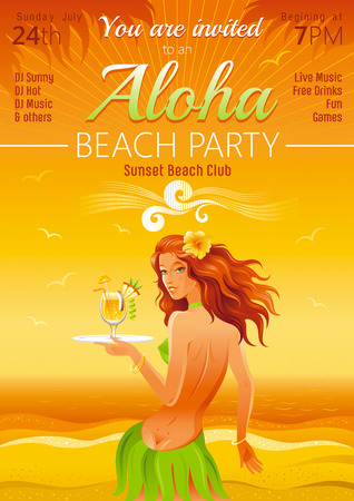 teenage girl bikini: Evening beach background with beautiful hula girl and tropical cocktail Illustration