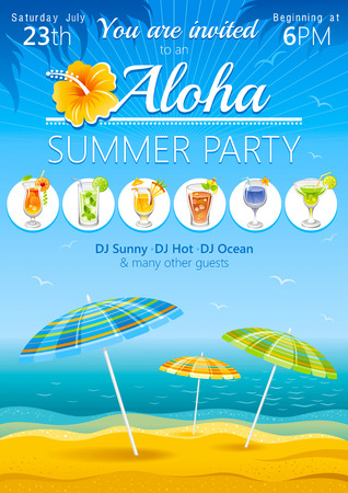 luau party: Aloha beach party background with umbrellas and tropical cocktails