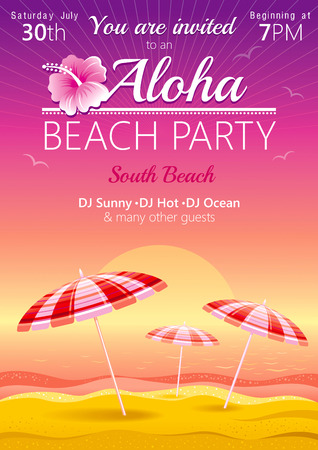 luau party: Aloha beach party background with umbrellas and hibiscus
