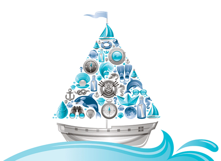 yachting: Sea summer travel design with sail boat and icon set. Yachting coat of arms, compass rose, binoculars, killer whale, porthole, message in bottle, yacht, sailing ship, moon, lifebuoy