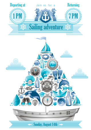 killer waves: Sea summer travel banner invitation design with sail boat and icon set. Yachting coat of arms, compass rose, binoculars, killer whale, porthole, message in bottle, yacht, sailing ship, moon, lifebuoy