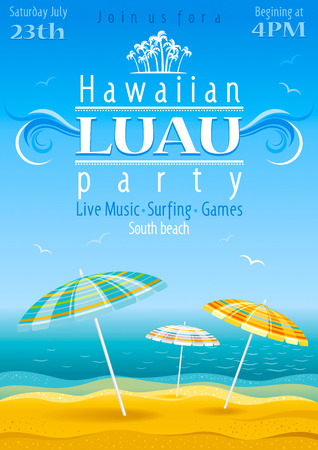 luau: Beach party luau background with stripped umbrellas