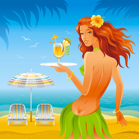sexy teenage girls: Day beach background with beautiful hula girl and tropical cocktail
