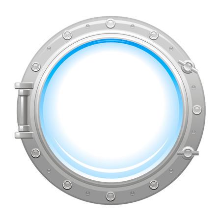 銀メタリック舷窓と白い空ガラス舷窓アイコン  イラスト・ベクター素材