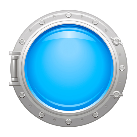 Porthole icon with silver metalic porthole and blue water in glass Vettoriali