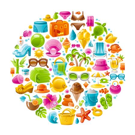 Beach sea summer concept design with travel symbols icon set on white background. Suitcase, starfish, beach parasol, sunglasses, sea turtle, cocktail, hawaii palm island, straw hat, pearl, bikini, sun