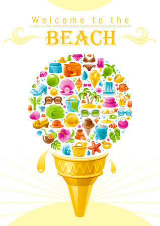 Beach sea summer design with travel symbols icon set. Text lettering Welcome to the Beach. Ice cream cone with vacation icons - suitcase, starfish, beach parasol, sunglasses, sea turtle, cocktail, sun