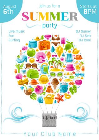 luau party: Beach sea summer concept design with travel symbols icon set. Beach party invitation. White background. Beach parasol, sunglasses, sea turtle, cocktail, hawaii island, straw hat, pearl, bikini, sun