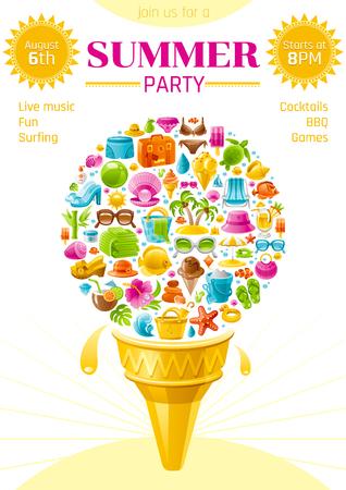 Beach sea summer party invitation card with travel symbols icon set. White background. Ice cream with icons - suitcase, starfish, beach parasol, sunglasses, sea turtle, cocktail, hawaii island, sun Illustration