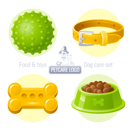 pet care: Pet care icon set on white background contains toy, collar, food illustrations Illustration