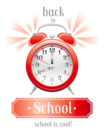 abstract alarm clock: Back to school vector illustration with yellow alarm clock icon on white background, abstract vintage design template