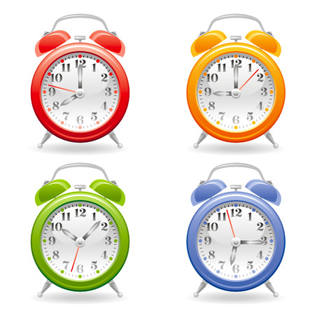 abstract alarm clock: Vector illustration of alarm clock icon set in red, yellow, green, blue colors on white background, abstract vintage design template. Different time on dial.