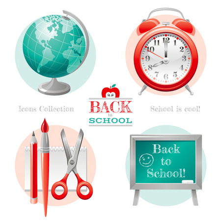 abstract alarm clock: Vector illustration of back to school icon set with concept abstract symbols in elegant modern style. Template logo and education object - globe, alarm clock, pencil, brush, scissors, chalkboard