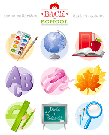 kid illustration: Vector illustration of back to school sale icon set with concept abstract symbols in elegant modern style. Template logo included. Education object - globe, paints, book, abc, ballet shoes, chalkboard