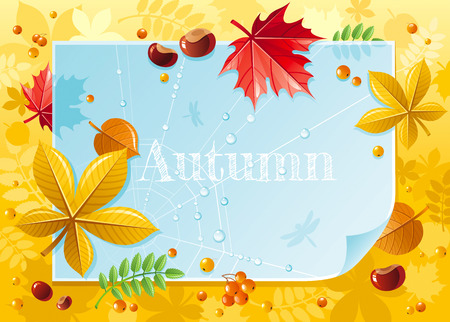 Vector illustration of macro autumn forest pattern with blue paper, falling leaves, rowan berry, chestnuts, maple and linden leaf, spider net with dew drops. Abstract modern concept with copy space Illustration