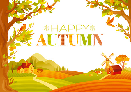 domestic animals: Vector illustration of beautiful autumn landscape on white background in modern style with elegant text lettering, copy space. Countryside fall farm symbols - barn, mill, apple trees, farm animals.