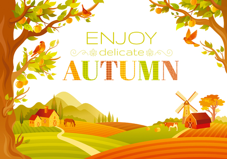 tranquil: Vector illustration of beautiful autumn landscape on white background in modern style with elegant text lettering, copy space. Countryside fall farm symbols - barn, mill, apple trees, farm animals.