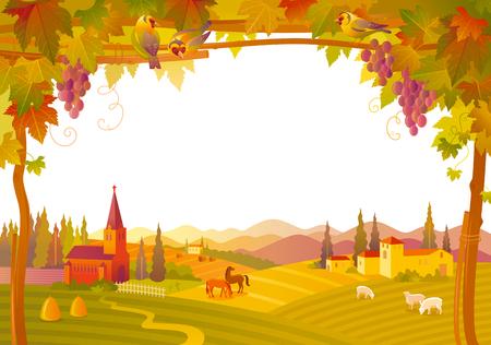 Vector illustratie van de mooie herfst landschap op een witte achtergrond in moderne stijl met een elegante tekst van letters voorzien, kopiëren ruimte. Platteland val boerderij symbolen boom, kerk, pompoen pictogram, wijngaard