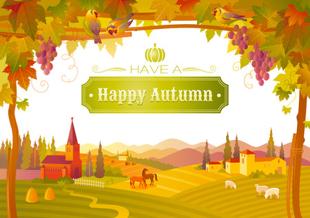 domestic animals: Vector illustration of beautiful autumn landscape on white background in modern style with elegant text lettering, copy space. Countryside fall farm symbols tree, church, pumpkin icon, vineyard Illustration