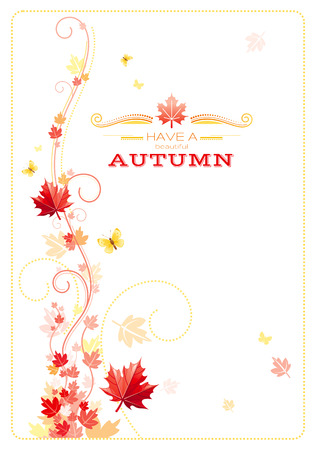 mariposas amarillas: Autumn background with red, orange maple leafs, yellow butterflies, abstract wave lines, swirls and copy space for text. Seasonal vector illustration.