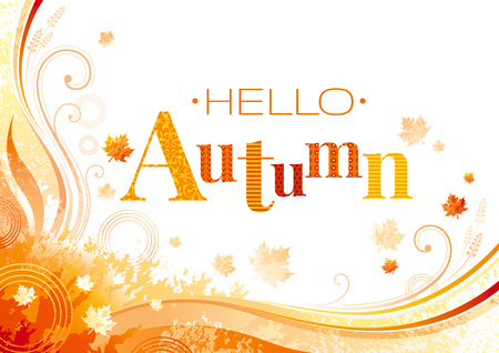 Autumn background with red, orange maple leafs, grunge elements, abstract wave lines, swirls and copy space for text. Seasonal vector illustration.